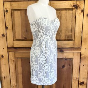 Minuet Strapless Gray Floral Lace Overlay Dress